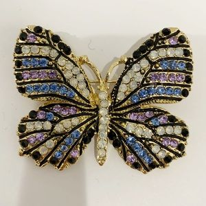 Multicolored Crystals butterfly brooch NWT